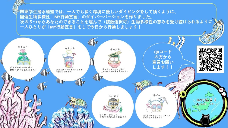 関東学生潜水連盟が作成した「ダイバー版MY行動宣言」のお知らせ